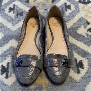 Tory Burch pewter flats with logo buckle